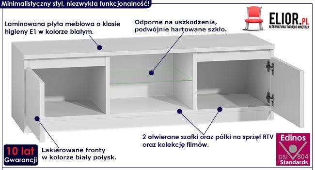 Lakierowana biała szafka pod telewizor Verta 4X