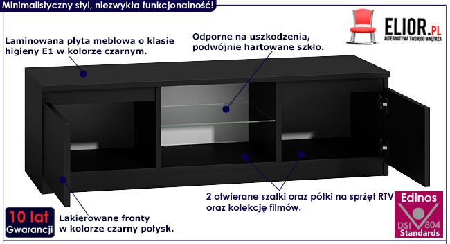 Czarna lakierowana szafka pod telewizor Verta 4X