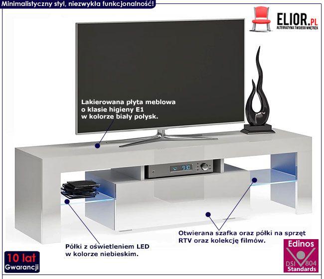 Lakierowana szafka RTV z oświetleniem LED Dexis 2X