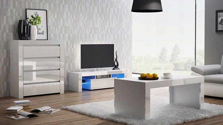Biała lakierowana szafka na telewizor i sprzęt RTV Dexis