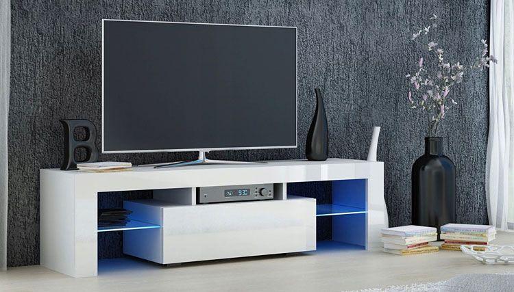 Biała szafka RTV z oświetleniem LED Dexis 2X
