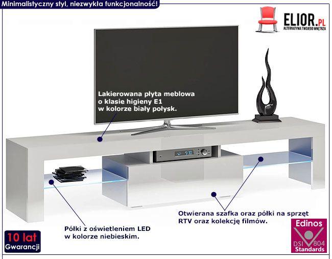 Duża lakierowana szafka RTV z oświetleniem 160 cm Dexis 3X