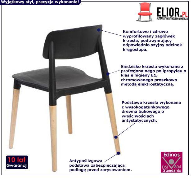 Designerskie krzesło Lores - czarne i buk