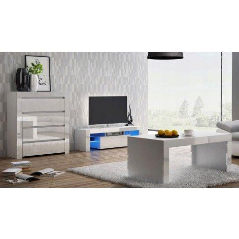 Zdjęcie produktu Zestaw mebli lakierowanych Santi - biały połysk.