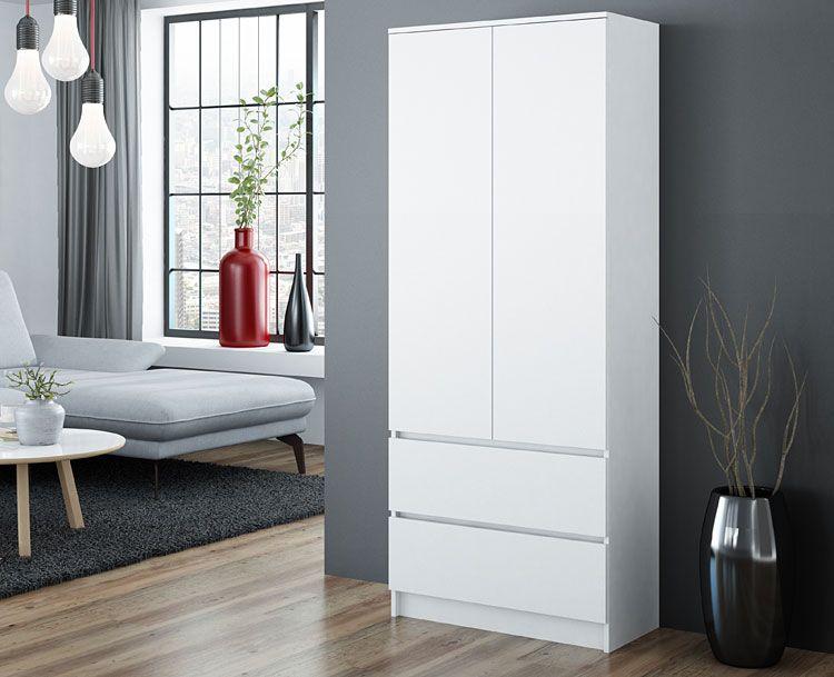 Biała szafa z drążkiem na ubrania, 5 półkami i 2 szufladami Marla
