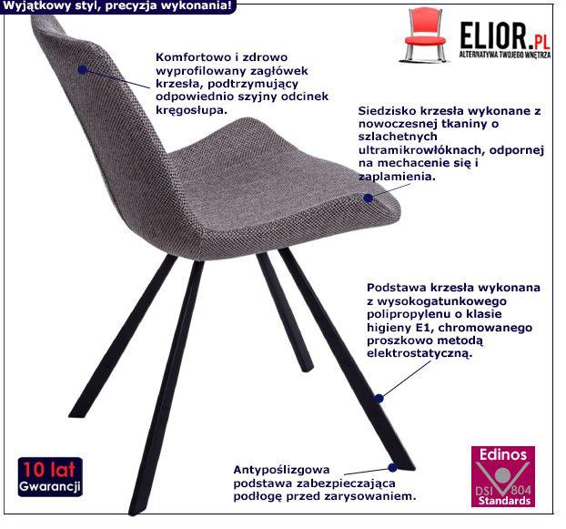 Nowoczesne krzesło Safiano - szare