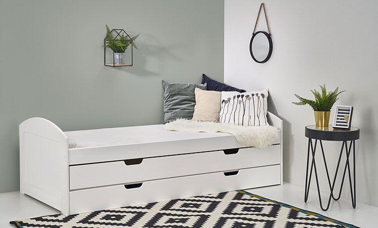 Białe łóżko młodzieżowe rozsuwane 90x200 Alvin