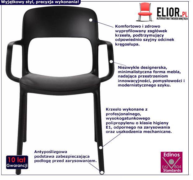 Minimalistyczne krzesło Deliot - czarne