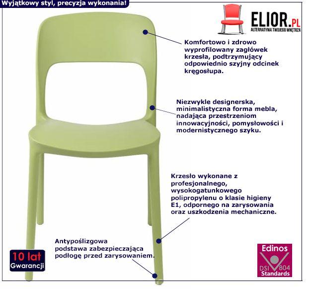 Minimalistyczne krzesło Deliot 2X - zielone