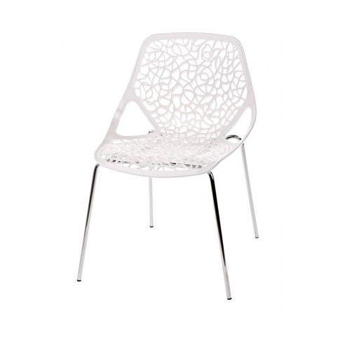 Zdjęcie produktu Białe krzesło ażurowe - Lenka.