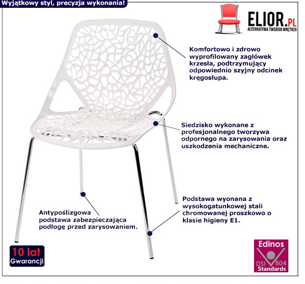 Stylowe krzesło Lenka - białe