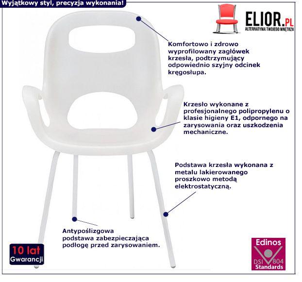 Modne krzesło Giano - białe