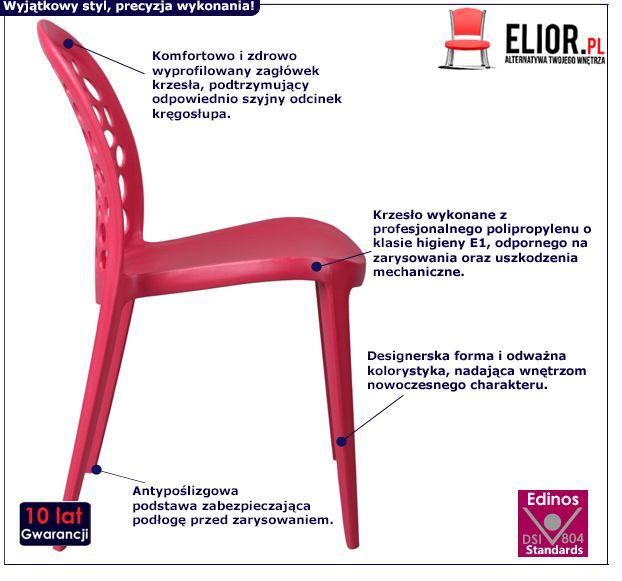 Stylowe krzesło Elia - czerwone