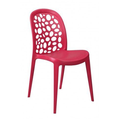 Zdjęcie produktu Krzesło z ażurowym oparciem Elia - czerwone.