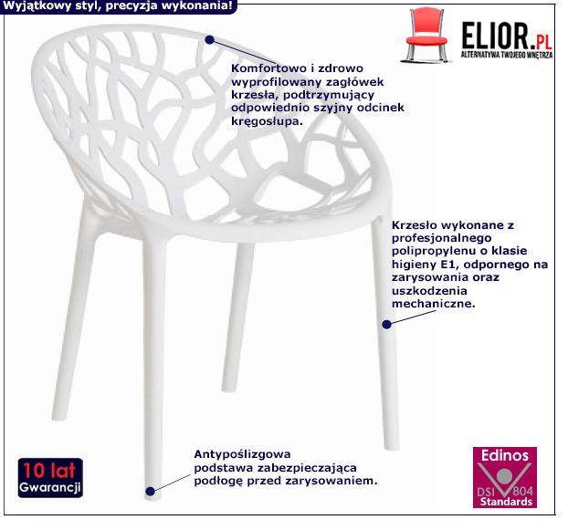 Nowoczesne krzesło Giato - białe
