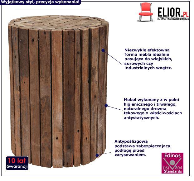 Naturalny taboret Villy - drewno