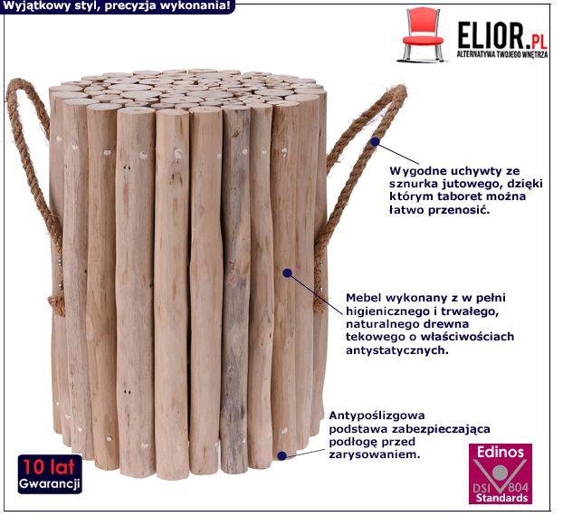 Drewniany taboret Villis - naturalny