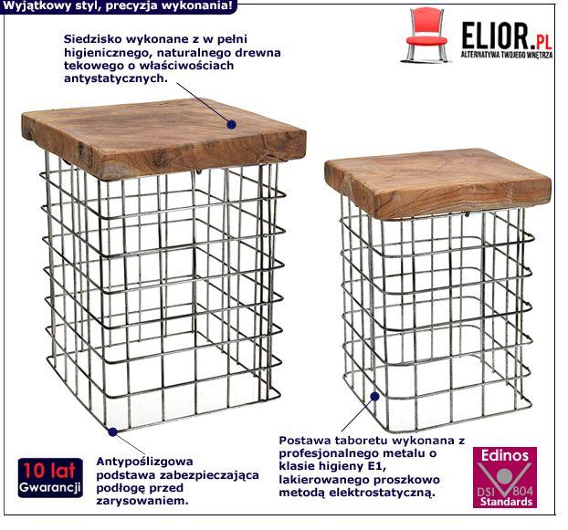 Industrialne stołkii Afel - drewniane