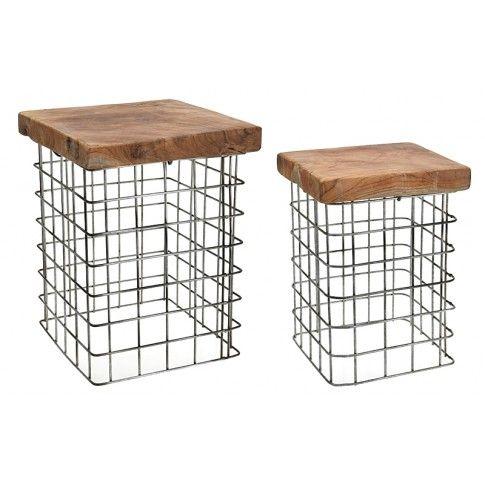 Zdjęcie produktu Zestaw taboretów Afel - drewniane.