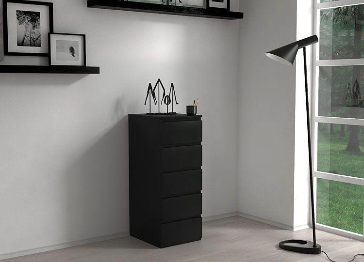 Czarna szafka z szufladami do biura Luvia