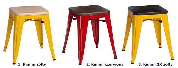 Industrialne taborety Kimmi - drewno