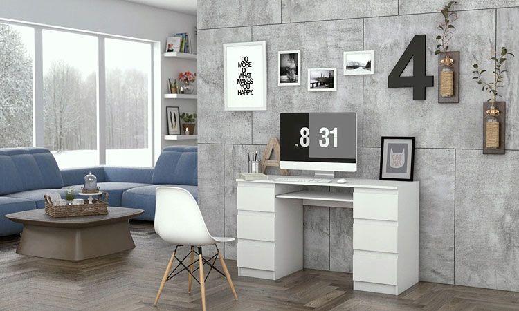 Białe biurko z 6 szufladami na klik Liner 2X