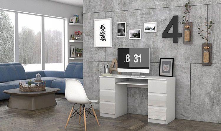 Lakierowane białe biurko z 6 szufladami Liner 3X