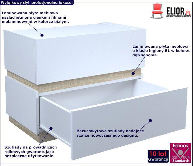 Biała szafka nocna do sypialni Tibia 2X