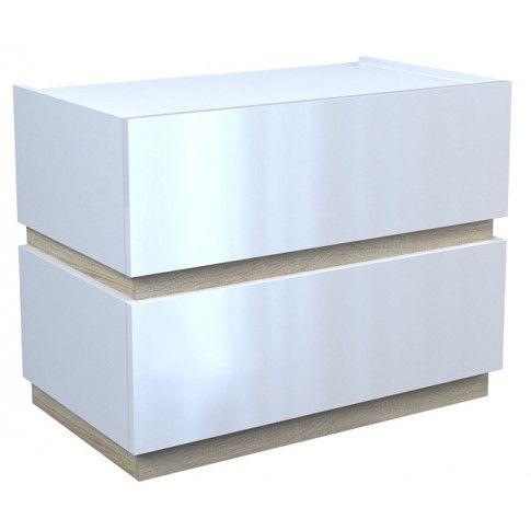 Zdjęcie produktu Lakierowana szafka nocna Tibia 3X - biała + dąb sonoma.
