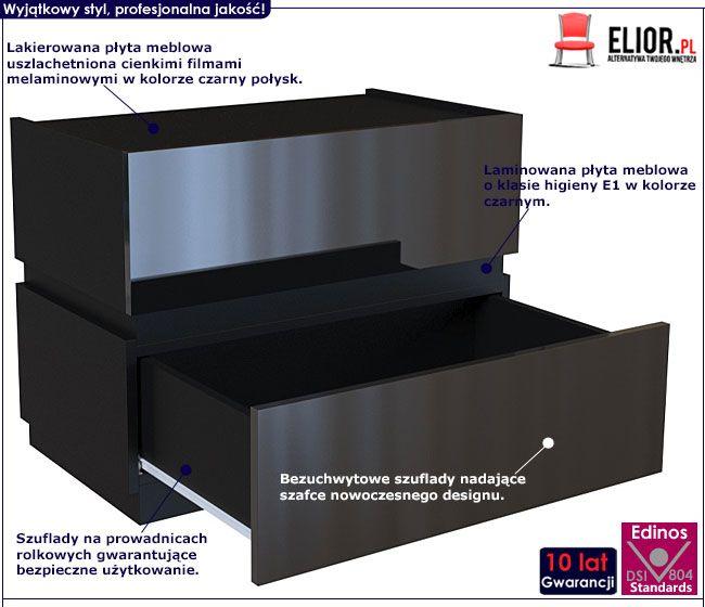 Lakierowana czarna szafka nocna do sypialni Tibia 3X