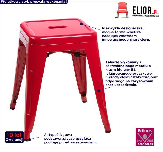 Designerski taboret Mirel - czerwony
