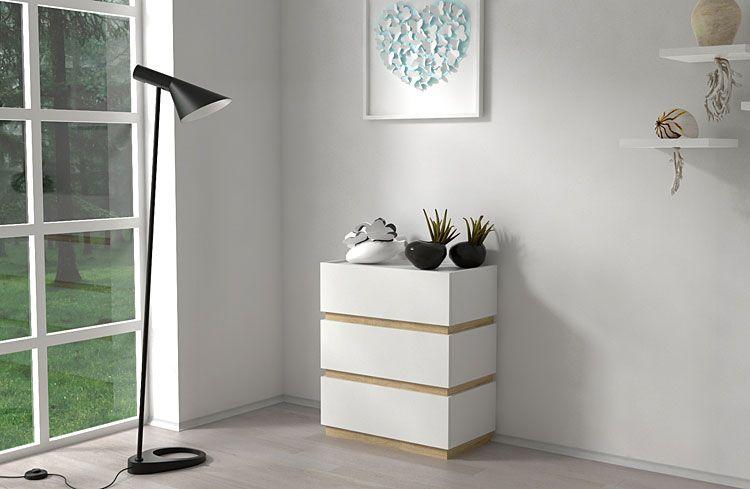 Biała komoda z 3 szufladami Sedia 2X