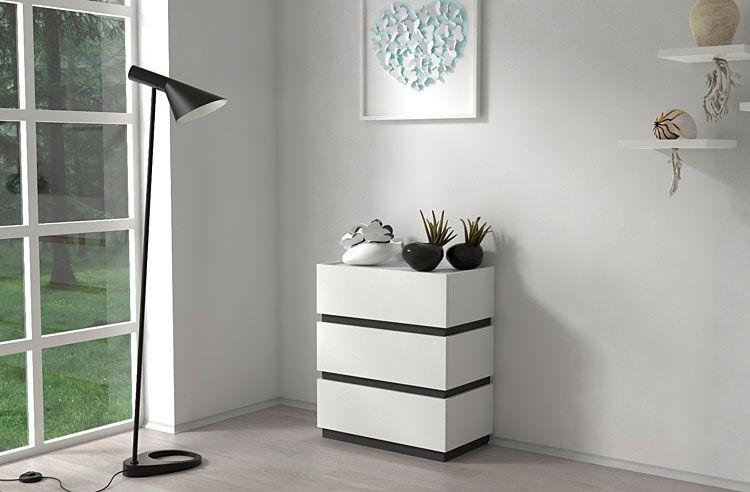 Komoda do salonu, sypialni biała, grafit Sedia 2X