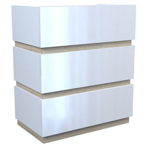 Zdjęcie produktu Lakierowana komoda Sedia 3X - biały połysk + dąb sonoma.