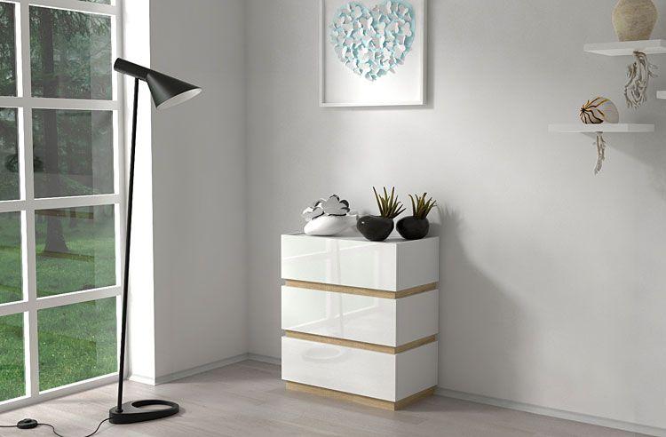 Biała komoda do salonu na wysoki połysk Sedia 3X