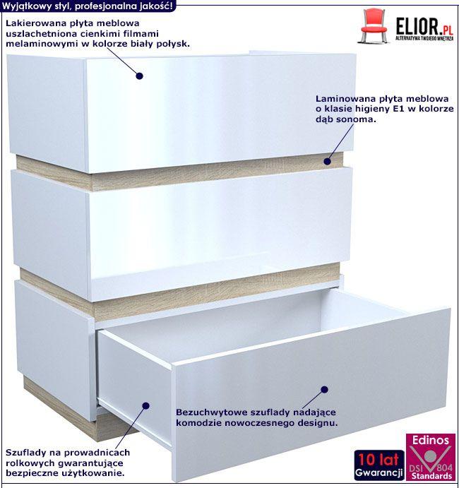 Lakierowana biała komoda z 3 szufladami Sedia 3X