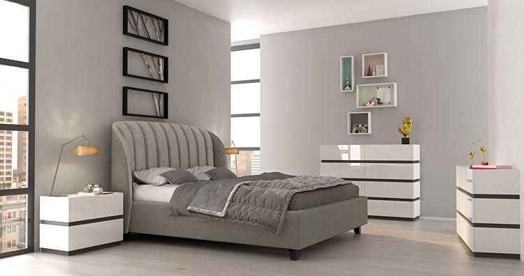 Kolekcja lakierowanych białych mebli modułowych do sypialni Fandi