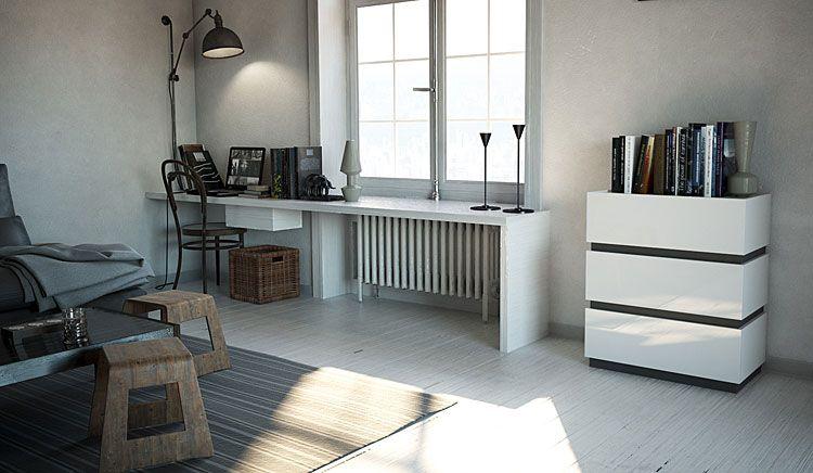 Komoda do salonu, biura biały połysk, grafit Sedia 3X