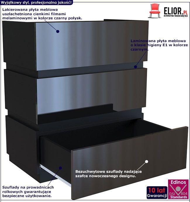 Czarna lakierowana komoda z 3 szufladami Sedia 3X
