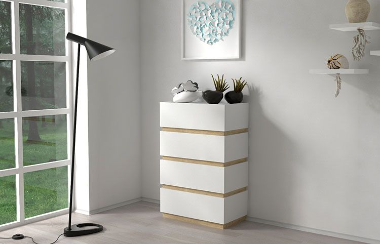 Stojąca biała szafka z 4 szufladami Sedia 4X