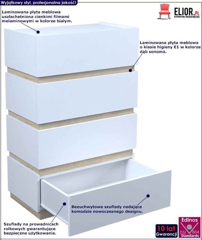 Biała wysoka komoda z 4 szufladami Sedia 4X