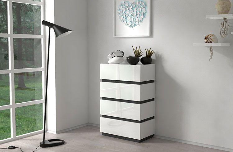 Biała szafka z 4 szufladami wysoki połysk Sedia 5X