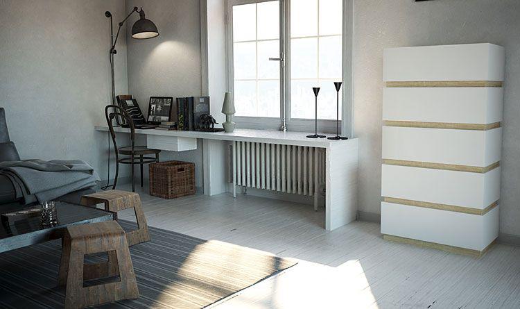 Biała komoda do salonu, sypialni Sedia 6X
