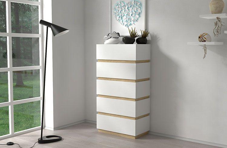 Biała komoda biurowa z 5 szufladami Sedia 6X