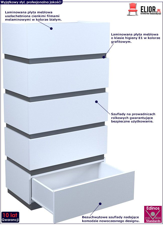 Biała komoda z 5 szufladami Sedia 6X