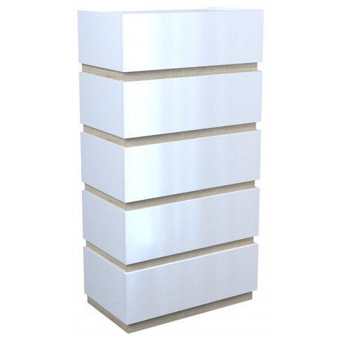 Zdjęcie produktu Lakierowana komoda Sedia 7X - biały połysk + dąb sonoma.
