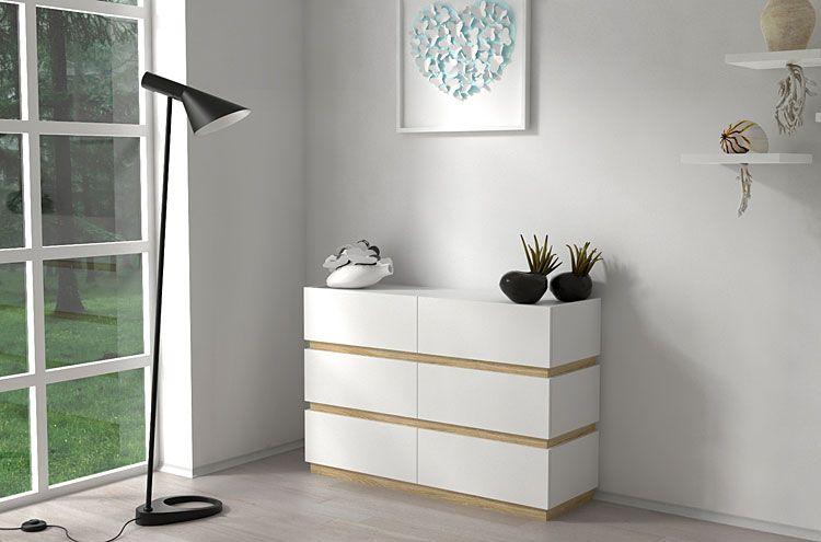 Duża biała komoda do salonu, sypialni Nestia 2X