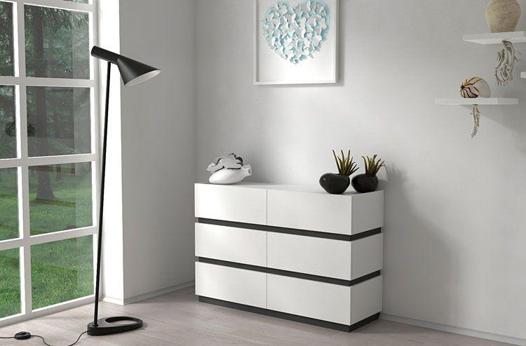 Szeroka szafka do salonu biała, grafit Nestia 2X
