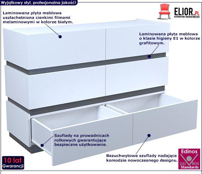Biała duża komoda z 6 szufladami Nestia 2X