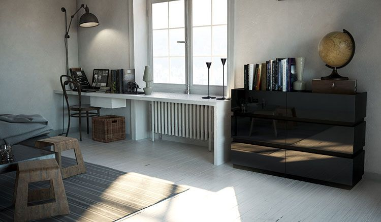 Czarna komoda lakierowana do biura, salonu Nestia 3X